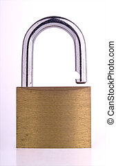 Padlock - Old open brass and nickel padlock