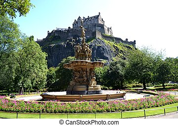 Edinburgh Castle and Ross Fountain - View of Edinburgh...