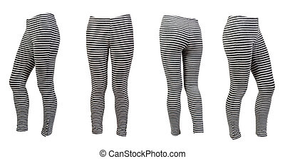 four gray striped leggings collage isolated on a white...