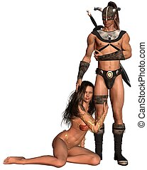 Barbarian Fantasy Couple - 1 - Fantasy style barbarian man...