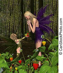 Fairy Woodland Mothers Day Gift - Fairy girl giving her...