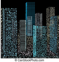 Illustration skyscrapers - In drawing skyscrapers are...