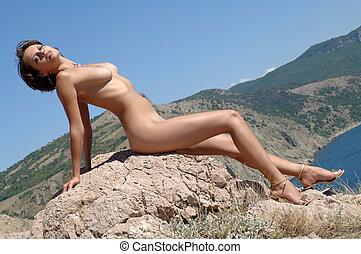mujer, Sentado, roca