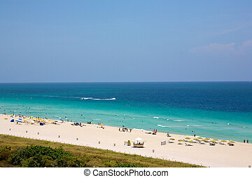 South Beach - People enjoying the sun on South Beach in...