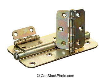 Three hinges on a white background