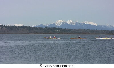Happy Kayakers - A group of happy kayakers out for a paddle...