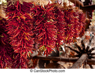 Spicy Red Hot Cayenne Peppers Drying in Sun - Spicy Red Hot...
