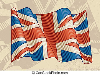 Vintage British Flag - Vintage British flag in woodcut...
