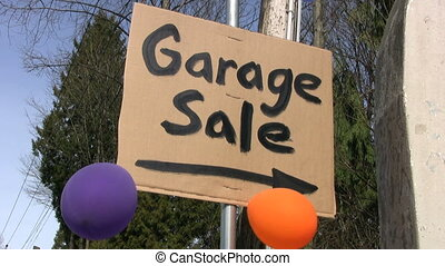 "Garage Sale Sign With Balloons - A home-made ""Garage Sale""..."
