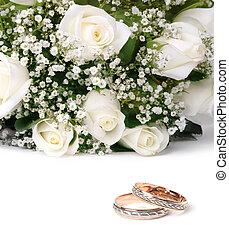婚禮, 戒指, 玫瑰, 花束