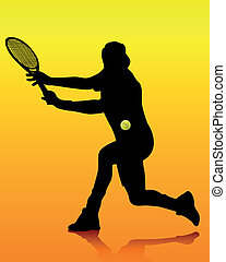 black silhouette of a tennis player on an orange background