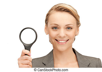 woman with magnifying glass - picture of beautiful woman...