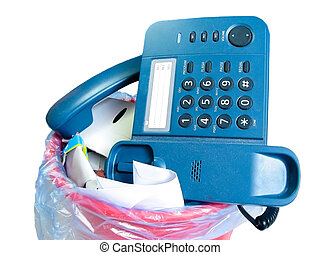 old-fashion phone in rubbish bin - old phone in rubbish bin...