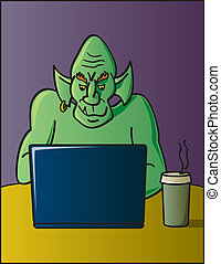 Internet Troll - A cartoon depiction of the term discussion...