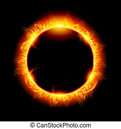 Solar eclipse Illustration on black background for design