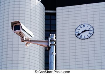 CCTV security camera against a city building