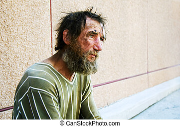 Homeless man on a street