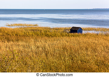 Isolated Blue Shack on Water at Long Point