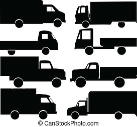 trucks collection - trucks silhouettes collection - vector