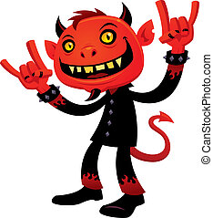 Heavy Metal Devil - Vector cartoon illustration of a...