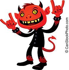 Heavy Metal Devil - Vector cartoon illustration of a...