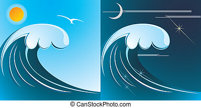 tsunami on the sea day and night - A tsunami is a series of...