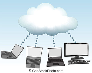 Computers connect to cloud computing technology - Laptop and...