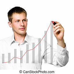 Businessman drawing a graph on white background