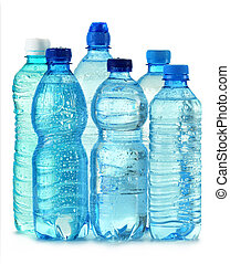 Polycarbonate plastic bottle of mineral water isolated on...