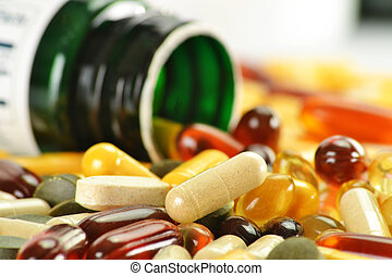 Composition with dietary supplement capsules and containers...