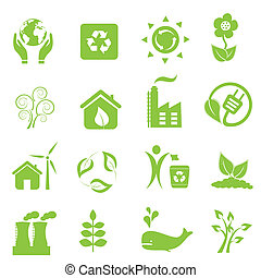 Eco and environment icons - Eco and environment icon set