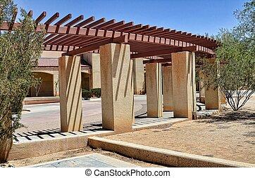 Veranda in southwestern style architecture