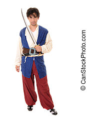 The Pirate - Young pirate with sword isolated over white