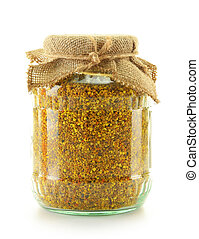 Jar with bee pollen isolated on white Nutritional supplement...