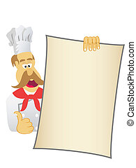 chef showing today's menu
