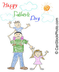 happy father's day card - doodle happy father's day card for...