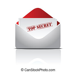 top secret letter illustration design over white
