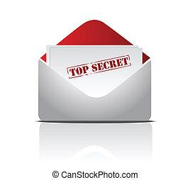 top secret letter illustration design over white