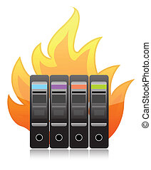 burning computer server on white illustration design
