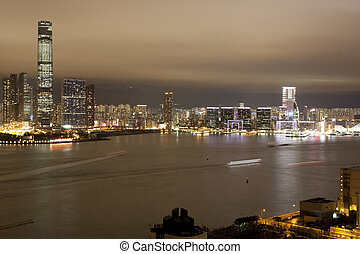 Hong Kong Skyline - A nighttime view of ICC in Kowloon Hong...