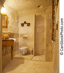 shower room detail with marble tiling - renovated bathroom...