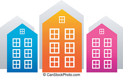 Vector houses isolated on white. EPS 8, AI, JPEG