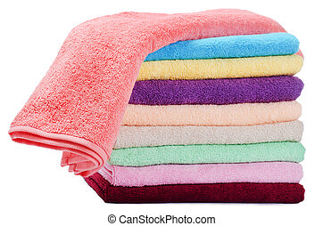 The combined colour towels isolated on white