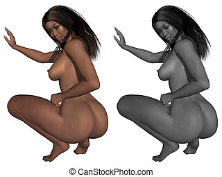 Naked female body - 3d render of a naked female body
