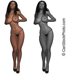 Naked female body - 3d render of a naked female body