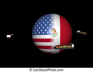 ships and USA Mexico flag sphere