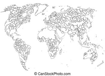 Graphic map of the world, (vector)