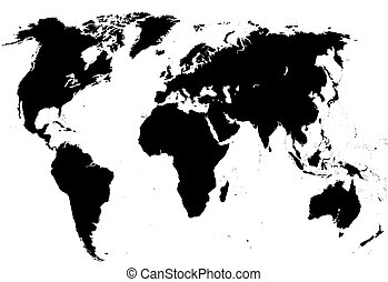 Graphic map of the world, vector