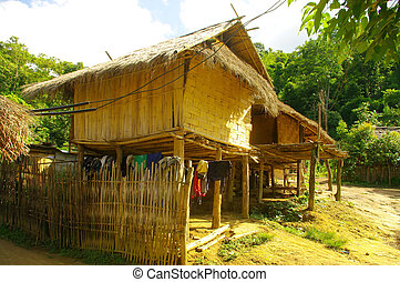 Akha house near Chiang Rai - Like most houses of ethnic...