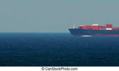 Container Ship Passing By Speed Up